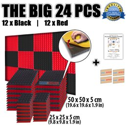 Wholesale New Black and Red Bundle Pyramid Acoustic Panel Soundproof Foam with Adhesive x50x5cm or x25x5cm KK1053