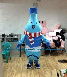 Wholesale Authentic Blue Wine Bottle Garrafa Winebottle Beer Bottle Jar Mascot Costume Cartoon Character Mascotte Adult Red Scarf NO