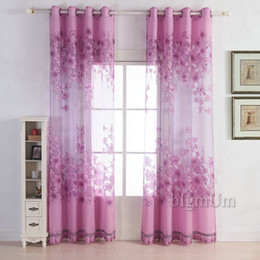 Custom-made Floral Tulle Luxury Sheer Curtain Finished Burnt-out Screens Window Treatment For Girl's Room with Beads