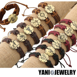 12PCS!! Fashion 12 Zodiac Signs Mix Colors Leather Bracelets Constellations Lether Bracelets Adjustable Bracelet Jewelry as Gift for Friend