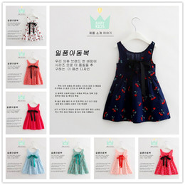 2016 New Hot Korean Sleeveless Dresses For Girls Cotton Blends Cherry Printing Children Dresses 8 Colors Cute Beatifull Child Princess Dress