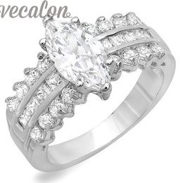 Vecalon Fashion Women Jewelry Engagement wedding Band ring 5ct Cz diamond ring 925 Sterling Silver Female Finger ring