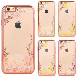 Wholesale Clear Flower Iphone Case - Rhinestone Clear TPU Cases For iPhone 7 6s 6 Plus Case Samsung S6 S7 Edge Transparent Electroplaiting Rose Flower Diamond Shining Painting
