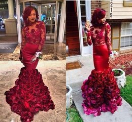 Wholesale 2016 Beautiful Red Evening Dress Mermaid Rose Floral Ruffle Applique Long Sleeve Black Girl Prom Dresses Vintage Formal Party Dress Hot Sale