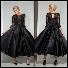 Wholesale Hot Seller Evening Dresses With A line Satin With Tulle Jewel Neck Tea Length Lace Appliques Beads Sleeves Black Dress Prom Gowns