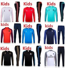 Wholesale 2016 real madrid Manchester Tracksuits top quality Training suit BENZEMA kids PSG juve Atletico Chelsea united football Tracksuits