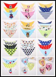 Wholesale FREE DHL New Cartoon Baby Feeding Waterproof Cotton Double Layers Kids Baby Bibs K T Burp Cloths Towel Bandanas Triangle Saliva Infant Scarf