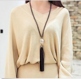 Wholesale Fashion Charm Beads Leather Tassels Pendant Long Chain Sweater Necklace Jewelry aromatherapy necklace sterling silver Jewellery