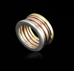 Fashion Titanium Stainless Steel Elastic Multiwall 3 layer Rings, Mixed Yellow Gold Rose Gold  Silver 3 Colors Women Men Jewelry