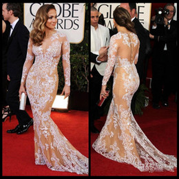 Wholesale Oscar Zuhair Murad Jennifer Lopez Lace Long Sleeve Celebrity Gowns Beauty Mermaid Red Carpet Dresses Evening Dresses