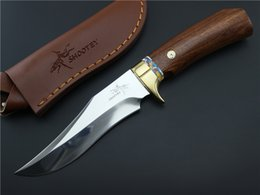Wholesale Shootey M2 HRC High Hardness Cr17Mov Blade Survival Hunting Fixed Knife Handmade Copper Wooden Handle
