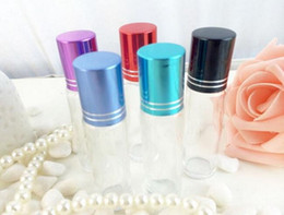 Factory Price Roller Bottles - 10ml Premium Quality Glass Refillable Essential Oil Roller On Bottles with Color metal Caps and Glass Ball