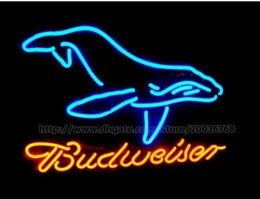 """Budweise Big Whale Neon Sign Beer Bar Disco KTV Club Store Display Advertisement Real Glass Tube Custom Handcrafted Neon Signs 24""""X20"""""""