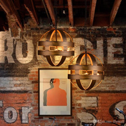 Wholesale Vintage Atom Cyclopean Wine Barrel Pendant Lights Chandeliers Industrial Iron Round Nordic Art Pendant Lamps Bar Restaurant Light Fixtures