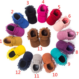 Wholesale 2016 Baby Soft Scrub Tassel Moccasins walker shoes baby Toddler Bow Fringe Tassel Shoes Moccasin colors stock choose freely