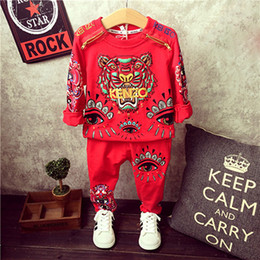 Wholesale Autumn Children s Boys Clothing Sets Designer Tracksuits For Boys Cartoon Tiger Fleece Pants Infant Kids Sport Suit Outfits