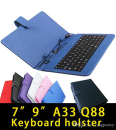 "7 inch Tablet PC PU Leather Keyboard Stand Case For 7 Inch Kids Tablet PC Q88 A33 7"" Keyboard Cover Case Post"
