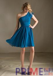 Robe de mousseline simple fronces en Ligne-PRIME JS Livraison gratuite 2016 New Simple Ruching Short A-ligne mousseline une épaule Robes de demoiselle d'honneur bleu