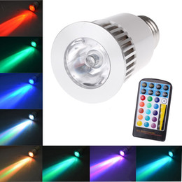 Wholesale 5W RGB LED Bulb E27 With Key IR Remote Controller AC V LM Modes Color Change Spot Light For Home Decoration
