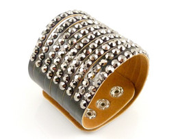 Wholesale Cheap Holiday Accessories - New Arrival Rhinestone Wide Bracelets Bangles,Wholesale Cheap Black White Coffee Leather Bracelets For Women Jewelry Accessories K7