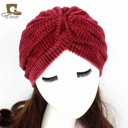 Wholesale Women Coral Velvet Pleated Turban Hijab Hair Loss Cancer Head Scarves Chemotherapy Alopecia Caps Turbante Hat