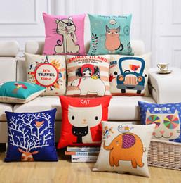 Wholesale Cartoon Elephant Cats Owl Cushion Covers Cartoon Birds Trees Flowers Pillow Cases Cute Deer Bears Cover Pillows Decor