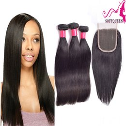 Wholesale 8 quot quot Full Head Brazilian Virgin Human Hair Lace Closure With Bundles PC Top Closures Piece Silky Straight Weaves