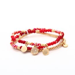 2016 Summer New Fashion infinity Beaded barcelets Women Red Blue Black 3 Colors Multilayers Bracelets with crystal