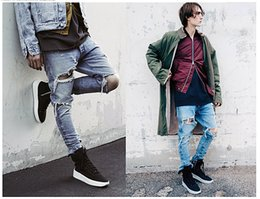 BIKER JEANS Brand 2016 Street jeans HIP HOP biker jeans denim cargo pleated slim skinny trousersblue blue men long Motorcycle pants