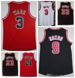 Wholesale 2016 men s Jimmy Butler Throwback Red Black White Color Dwyane Wade Uniform Rajon Rondo Scottie Pippen Fashion Quality