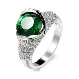 Fantasy Wide Pave Open Domed Green Stone Cocktail Ring Silver Inlaid Set Beads Band Round Cut CZ imitated Emerald Statement Ring