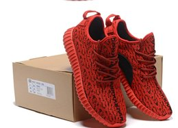 Wholesale 2016 All Red Boost Classic Onsale Kanye West Men WOMEN Running Shoes Sneakers With Original Box Receipt Freeshipping Size