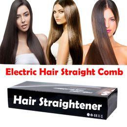 Wholesale Electric Hair Straightener Massager Comb Flat Iron Brush LCD Auto Temperature Control Fast ceramic hair straightener