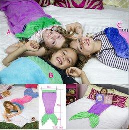 Wholesale Kids Handmade Mermaid Tail Blankets Lap Throw Bed Wraps Warm Fleece Costume Blankets Soft Shark Mermaid Sleeping Bag Cocoon Mattress A591