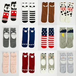 Wholesale 2015 Fashion unisex cartoon Animal leg warmers baby girls boys knee high Totoro Panda Fox socks kids cute Striped Knee Pad sock