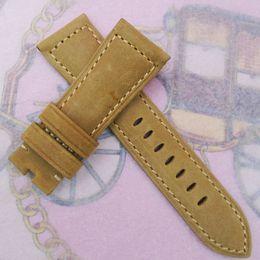 26 mm 125mm 75mm luxury Khaki Nubuck Calf Leather Strap Watch band For PAM LNMINOR RADIOMIR Watch