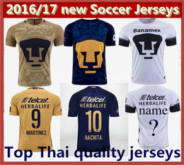 Top Quality 2016 Home Yellow Away Blue Soccer Jersey New UNAM Pumas Mexico camisetas de futbol Cougar 16 17 Football Cortes Martinez Shirts