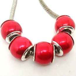 100PCS Lot Beautiful Red Color Imitation Pearl beads Silver core loose European Big Hole Acrylic Charms Beads for Jewelry Making Low Price