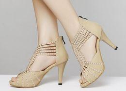 Summer Women Fashion Genuine Leather Stiletto Heel Sandals Ladies Sexy Roman Hollow Up Strappy Sandals Girls Rhinestone Peep-toe
