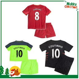 Wholesale 16 Liverpool Kids boy kit COUTINHO jersey shirts