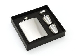 Silver Flasks Set 7oz Hip Fask 2 Cups Set Stainless Steel Hip Flasks Wine Pot Foam A Inner and Gift Box ,FOOD DEGREE ,LOGO FREE