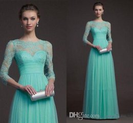 long sleeve lace evening dresses green high neck sheer floor length long prom dresses formal dresses