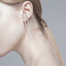Wholesale Hollow Long Copper Pipe Simple Earring Stud Woman Geometry Concise Fashion Earring Style Optional OEM ODM Mininum Order USD50