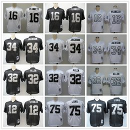 Wholesale Throwback Ken Stable Jim Plunkett Marcus Allen Bo Jackson Howie Long White Black Home Away Stitched Oakland Football Jerseys