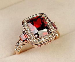 Hot selling!!! 18K Rose Gold Plated Perfect Cut Red Ruby Rectangle Austrian Crystal Luxury Lady Finger Ring Wholesale 18krgp