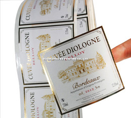 2017 des étiquettes en feuille imprimées Étiquettes / autocollants personnalisés pour vin Étiquettes / autocollants pour bouteilles en verre Étiquettes / autocollants en feuilles d'or bon marché des étiquettes en feuille imprimées