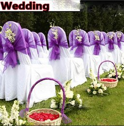 Wholesale Engagement White Ivory Purple Chair Cover Back Sashes Party Banquet Decor Birthday Formal Occasion Wedding Affordable Chair Sashes