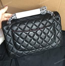 Wholesale Factory Sell Brand cm New Jumbo Lambskin Double Flap Bag w Silver Hardware Black Maxi Genuine Leather Gold Chain Flap Bag Women Handbags