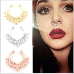 Wholesale Hot selling Fake Septum Clicker Nose Ring Non Piercing Hanger Clip nose piercing fake septum On CZ Body Jewelry For Women Girl