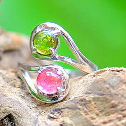 Wholesale Silver Color Fine Jewelry CT Rose Genuine Natural Tourmaline Sterling Silvery Adjustable Twin Ball Ring for Women Gift